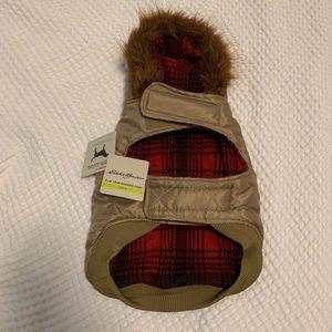 Dog Eddie Bauer jacket with faux fur collar